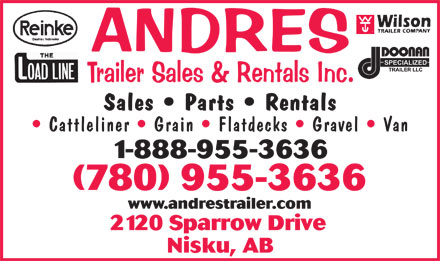 Andres Trailer Sales &amp; Rentals Inc (780-955-3636) - Annonce illustr&eacute;e