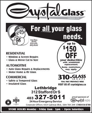 Crystal Glass Canada Ltd (403-327-5011) - Annonce illustrée
