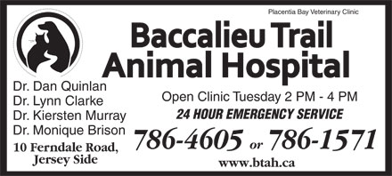 Placentia Bay Veterinary Clinic (1-888-202-0468) - Display Ad