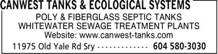 Canwest Tanks & Ecological Systems Ltd (604-580-3030) - Display Ad