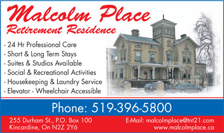 Malcolm Place Retirement Residence (519-396-5800) - Display Ad