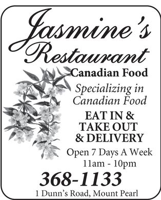 Jasmine's (709-368-1133) - Display Ad