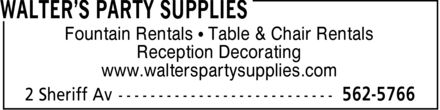 Walter's Party Supplies (902-562-5766) - Annonce illustrée - Fountain Rentals ¿ Table & Chair Rentals Reception Decorating www.walterspartysupplies.com Fountain Rentals ¿ Table & Chair Rentals Reception Decorating www.walterspartysupplies.com