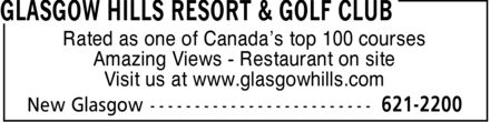 Glasgow Hills Resort & Golf Club Reservations (902-621-2200) - Annonce illustrée