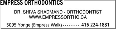 Empress Orthodontics (416-224-1881) - Display Ad