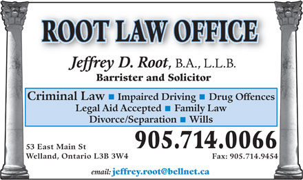 Root Jeffrey D Law Office (289-434-4599) - Annonce illustrée