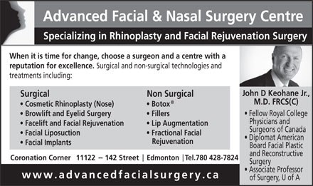 Advanced Facial & Nasal Surgery Centre (780-613-0207) - Display Ad