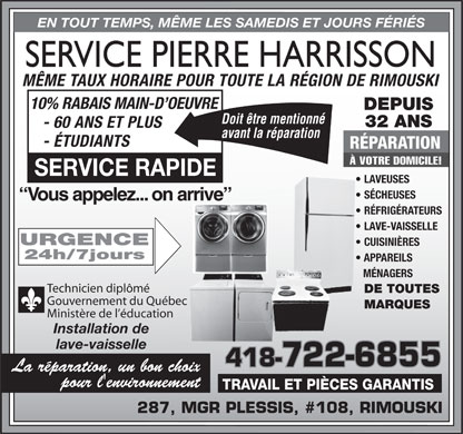 Harrisson pierre 108 287 rue monseigneur plessis for Taux horaire main d oeuvre garage