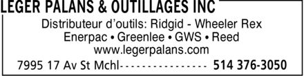 Léger Palans & Outillages Inc (514-376-3050) - Display Ad