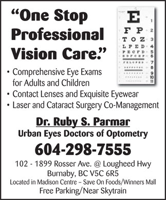 Urban Eyes Doctors of Optometry (604-298-7555) - Annonce illustrée