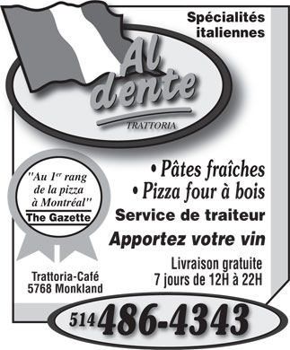 Al Dente Trattoria (514-486-4343) - Display Ad