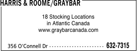Harris & Roome/Graybar Canada (709-632-7315) - Display Ad - 18 Stocking Locations in Atlantic Canada www.graybarcanada.com
