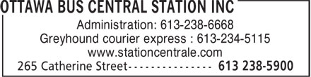 Ottawa Bus Central Station inc (613-238-5900) - Display Ad