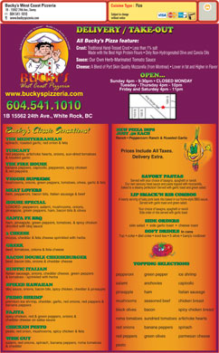 Bucky's West Coast Pizzeria (604-541-1010) - Menu