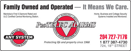 Protelec Alarms (204-727-7176) - Display Ad