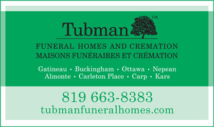 Cadieux Tubman Funeral Homes and Crematorium (819-663-8383) - Display Ad