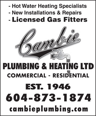 Cambie Plumbing &amp; Heating Ltd (604-696-4630) - Annonce illustr&eacute;e