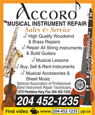 Accord Musical Instrument Repair (204-452-1235) - Annonce illustrée