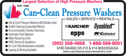 Can-Clean Pressure Washers (1-888-568-8001) - Display Ad