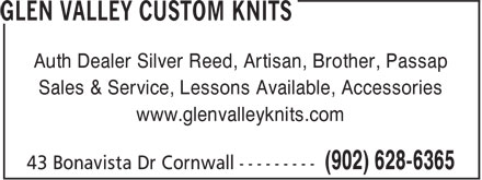 Glen Valley Custom Knits (902-628-6365) - Annonce illustrée - Auth Dealer Silver Reed, Artisan, Brother, Passap Sales & Service, Lessons Available, Accessories www.glenvalleyknits.com Auth Dealer Silver Reed, Artisan, Brother, Passap Sales & Service, Lessons Available, Accessories www.glenvalleyknits.com