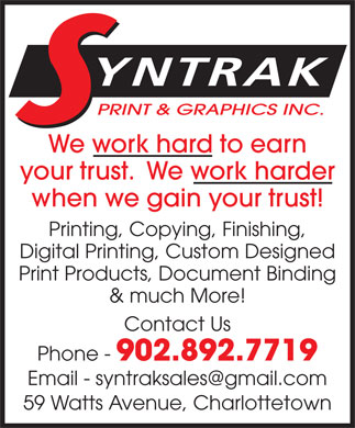 Syntrak Print & Graphic Inc (902-892-7719) - Display Ad
