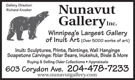 Nunavut Gallery Inc (204-478-7233) - Annonce illustr&eacute;e