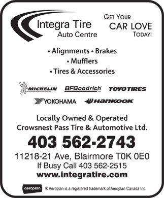 Integra Tire (403-562-2743) - Display Ad