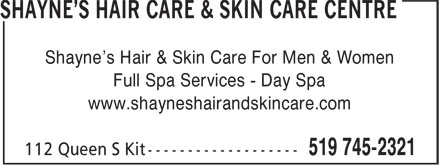 Shayne's Hair Care & Skin Care Centre (519-745-2321) - Annonce illustrée - Shayne's Hair & Skin Care For Men & Women Full Spa Services - Day Spa www.shayneshairandskincare.com
