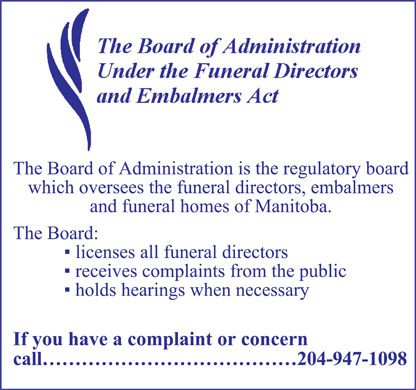 Board Of Administration Under The Funeral Directors And Embalmers Act (204-947-1098) - Display Ad