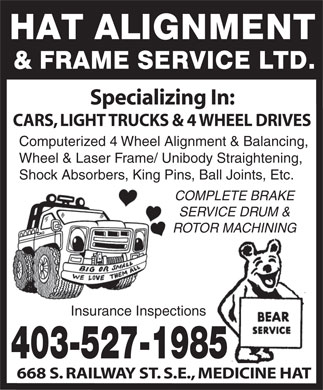 Hat Alignment & Frame Service Ltd (403-527-1985) - Display Ad