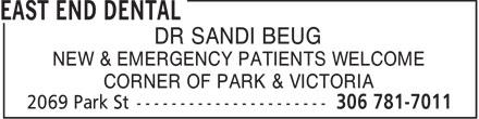 East End Dental (306-781-7011) - Display Ad - EAST END DENTAL