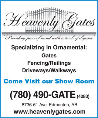 Heavenly Gates Inc (780-490-4283) - Annonce illustrée
