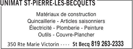 Coopérative Agricole Régionale Parisville (819-263-2333) - Display Ad - Matériaux de construction Quincaillerie - Articles saisonniers Électricité - Plomberie - Peinture Outils - Couvre-Plancher