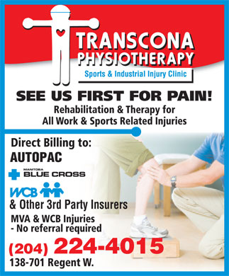 Transcona Physiotherapy Sports and Industrial Injury Clinic (204-224-4015) - Annonce illustrée