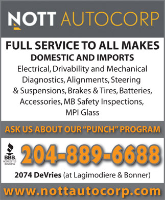 Nott Autocorp Ltd (204-889-6688) - Annonce illustr&eacute;e