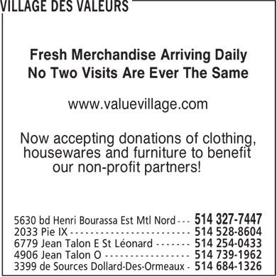Value village 5630 boul henri bourassa e montr al nord qc for Loca meuble henri bourassa