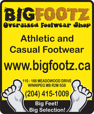 Big Footz Oversized Sneaker Shop (204-415-1009) - Annonce illustr&eacute;e
