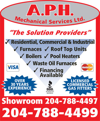 A P H Mechanical Services Ltd (204-788-4499) - Display Ad