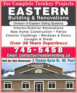 Eastern Building & Renovations (709-745-5458) - Annonce illustrée