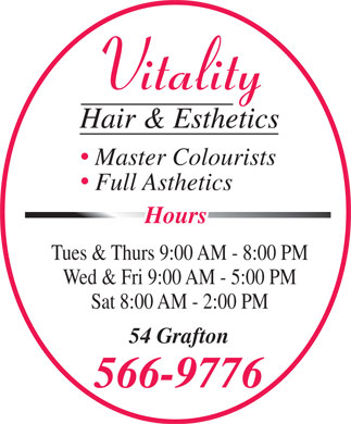 Vitality Hair & Esthetics (902-566-9776) - Display Ad