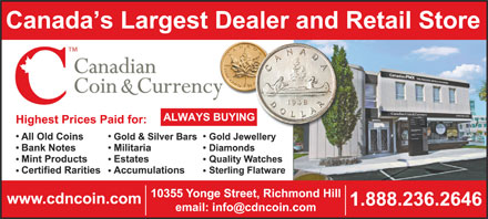 Canadian Coin & Currency (1-888-236-2646) - Display Ad