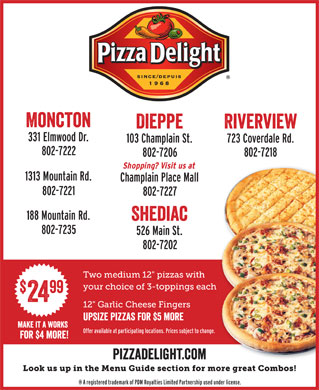 Pizza Delight Take Out & Delivery Service (506-858-1891) - Display Ad - font interstate regular compressed