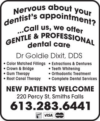 Dr Goldie Dixit (613-283-6441) - Display Ad