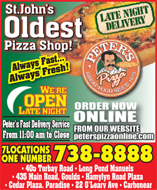 Peter's Pizza (709-738-8888) - Display Ad