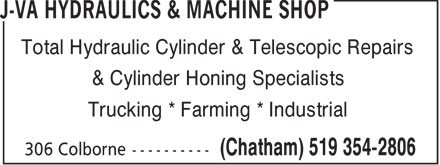 JVA Hydraulics And Machine Shop Ltd (519-354-2806) - Annonce illustrée - Trucking * Farming * Industrial Total Hydraulic Cylinder & Telescopic Repairs & Cylinder Honing Specialists Trucking * Farming * Industrial Total Hydraulic Cylinder & Telescopic Repairs & Cylinder Honing Specialists