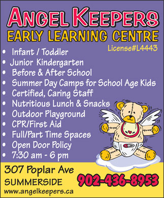 Angel Keepers Early Learning Centre (902-436-8953) - Annonce illustrée - www.angelkeepers.ca 902-436-8953 www.angelkeepers.ca 902-436-8953