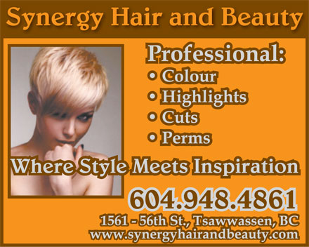 Synergy Hair & Beauty (604-948-4861) - Annonce illustrée - Synergy Hair and Beauty Where Style Meets Inspiration 604.948.4861  Synergy Hair and Beauty Where Style Meets Inspiration 604.948.4861