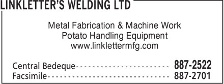 Linkletter's Welding Ltd (902-887-2522) - Display Ad - Metal Fabrication & Machine Work Potato Handling Equipment www.linklettermfg.com