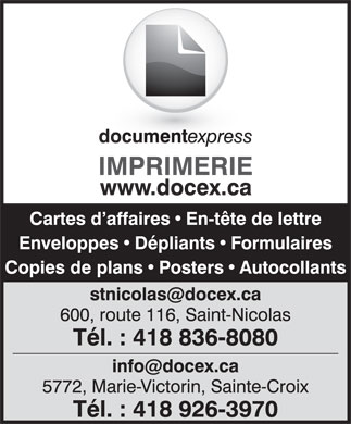Document Express (418-926-3970) - Annonce illustrée