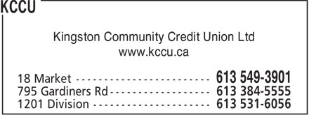 KCCU (613-549-3901) - Annonce illustrée - Kingston Community Credit Union Ltd www.kccu.ca  Kingston Community Credit Union Ltd www.kccu.ca  Kingston Community Credit Union Ltd www.kccu.ca